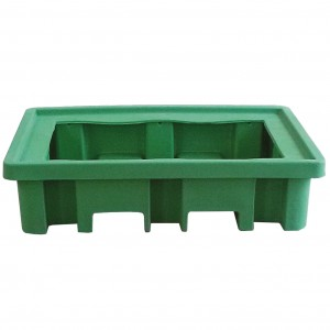 Recycled Polyethylene sump pallet for 2 drums: direct loading
