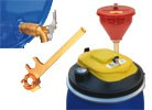 DRUMS accessories, lids, funnels, shears and taps