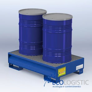 Steel containment sumps for 2 x 200 kg. drums