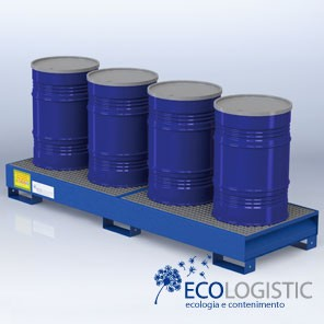 Steel containment LONGITUDINAL SUMPS for 4 x 200 kg. drums.