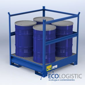 STEEL SUMP WITH FRAME for 4 x 200 kg. drums.
